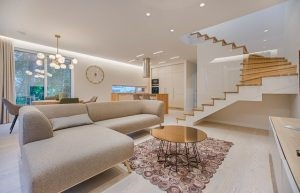 Bright living room with furniture in beige tones